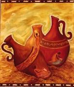 tableau nature morte vases ocres afrique eau : Trois vases