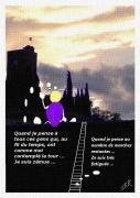 dessin beillou tour cessenon reflexion araignee : Beillou et la tour