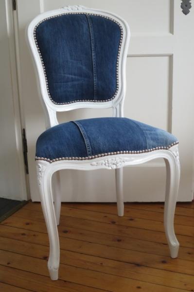 AUTRES patchwork jean's recyclé  - Chaise Louis XV