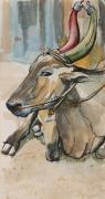 tableau animaux vache aquarelle sacre carnet de voyage : vache sacré