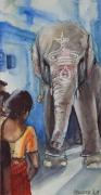 tableau animaux elephant personnage aquarelle carnet de voyage : Ganesh