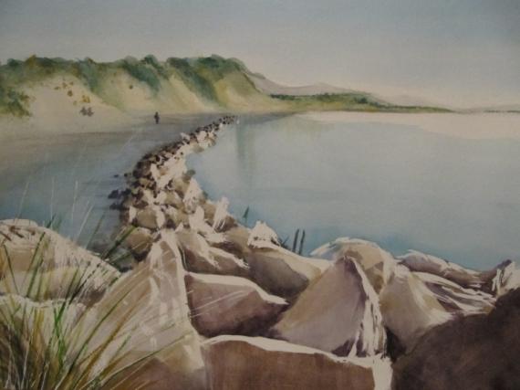 TABLEAU PEINTURE baie aquarelle france authie Marine Aquarelle  - Baie d'Authie