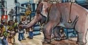 tableau personnages aquarelle elephant personnage carnet de voyage : Ganesh 2