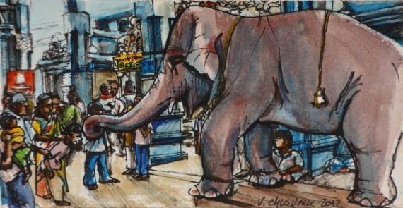 TABLEAU PEINTURE aquarelle elephant personnage carnet de voyage Personnages Aquarelle  - Ganesh 2