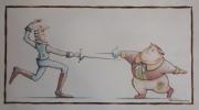 dessin personnages escrime duel epee combat : Duel