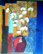 tableau fleurs collage papiers fleurs : Branche de coton