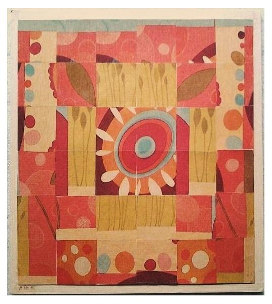 TABLEAU PEINTURE Collage papiers paysage abstrait Paysages Collage  - Carré de jardin