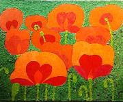 tableau fleurs collage papier fleurs coquelicots : Coquelicots