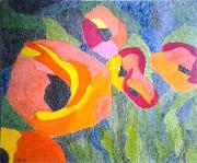 tableau fleurs collage papiers fleurs : Fleurs champêtre