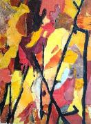 tableau abstrait collage papier abstrait feu : Feu