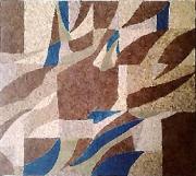 tableau abstrait collage papiers abstrait : Mouvance végétale