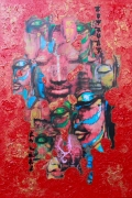 tableau personnages bouddha collage rouge dore : vif