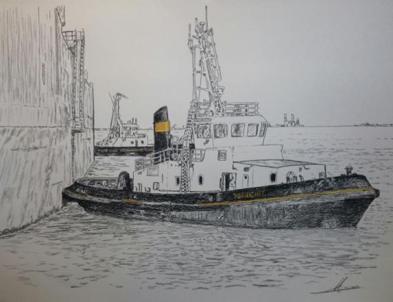 DESSIN bateaux loire remorqueur st nazaire Marine Crayon  - remorqueur