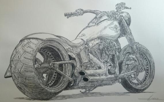 DESSIN moto harley Crayon  - harley