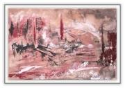 tableau abstrait pont broken abstrait ville : chaos