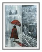 tableau abstrait intrigue polar couverture policier : rainy street