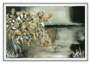 tableau japon gris cascade ame : waterfalls