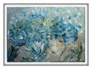tableau abstrait provence bleu olive fleurs : provence