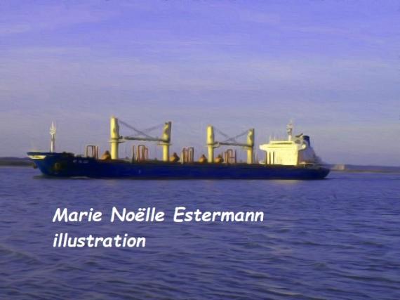 TABLEAU PEINTURE MER BATEAU HONFLEUR NORMANDIE Marine  - BATEAU VERS HONFLEUR