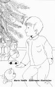 dessin personnages noel garcon sapin cadeau : MATIN DE NOEL