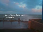 tableau marine mer tempete hauteville sur mer vagues : TEMPETE A HAUTEVILE SUR MER