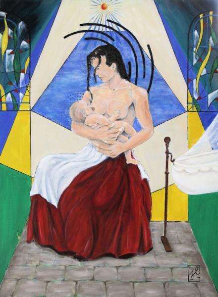 TABLEAU PEINTURE Religion Christianisme tel la naissance du Christ Amour du nouveau né Personnages Peinture a l'huile  - Vierge à l'enfant