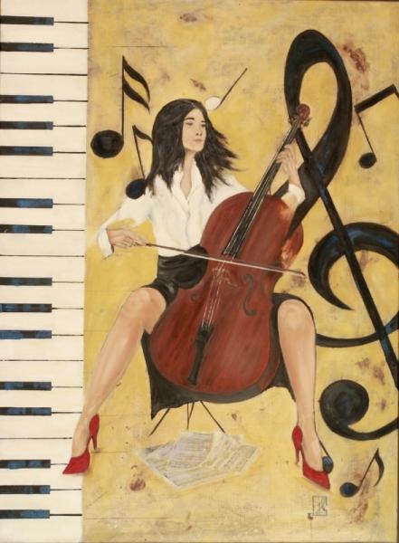 TABLEAU PEINTURE piano instrument musique partition Femme Personnages Peinture a l'huile  - Notes violoncelle