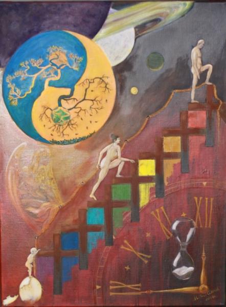 TABLEAU PEINTURE existence Vie destin Peinture a l'huile  - Espace temps