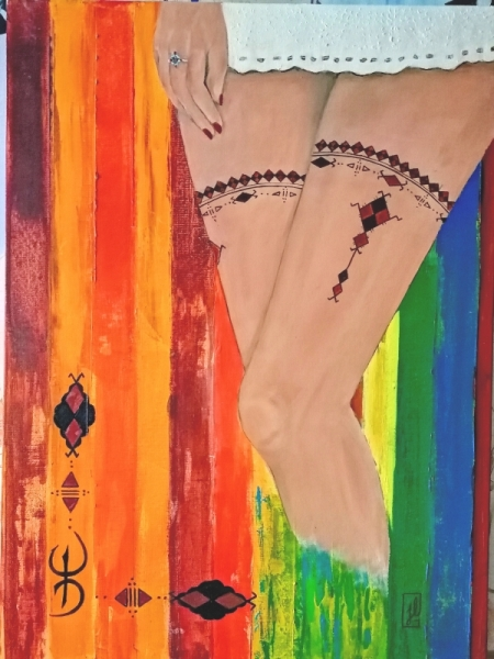 TABLEAU PEINTURE femme Kabyle charme féminin tatouage sensualité Peinture a l'huile  - Charme kabyle
