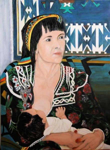 TABLEAU PEINTURE kabyle nourrice alaitement nouveau né Personnages Peinture a l'huile  - A la source de la vie