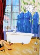 tableau scene de genre toilettage animaux mannequin salle de bain quartier butte montm : l'heure du bain