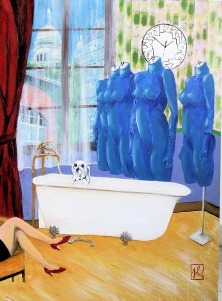 TABLEAU PEINTURE Toilettage animaux Mannequin Salle de bain quartier Butte Montm Scène de genre Peinture a l'huile  - l'heure du bain