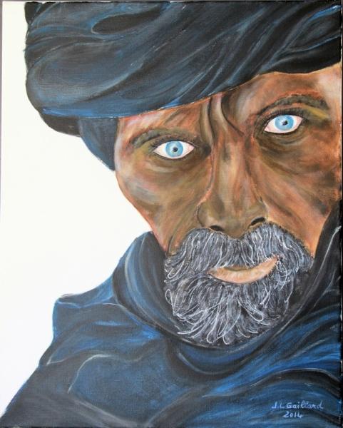 TABLEAU PEINTURE Touareg désert nomade homme libre Personnages Acrylique  - l'homme bleu