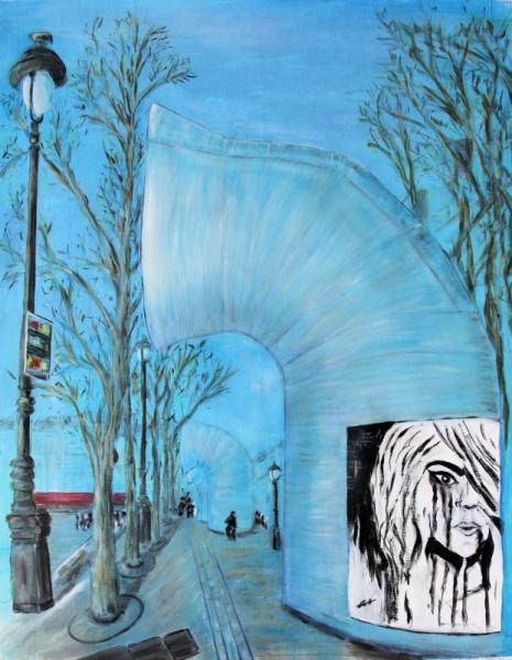 TABLEAU PEINTURE Paris centre culturel Musée Beaubourg Villes Acrylique  - Beaubourg