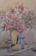 tableau fleurs fleurs rose printemps : Explosion florale