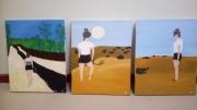 tableau paysages desert sable ciel bleu : La fille du désert