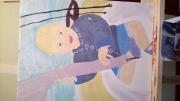 tableau personnages enfant bateau plage garcon : Léandre
