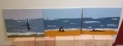 tableau paysages ombre mer plage gymnastique : La fille de la plage