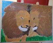 tableau animaux lions animal sauvage : Duo de lions