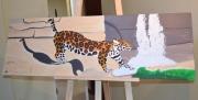 tableau animaux leopard cascade animal sauvage : Léopard