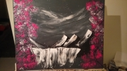 tableau paysages montagne nuit cascade fleur de cerisier : Montagne