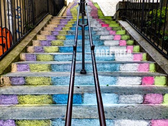 PHOTO Montmartre Paris Paysage Sacré-Coeur Paysages  - Montmartre - Escalier Rue Du Mont-Cenis