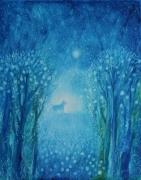 tableau paysages nuit fantaisie cheval magique : nocturne