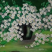 tableau fleurs fleurs : Les petites fleurs blanches