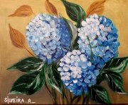 tableau fleurs : Hortensia azul