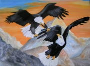 tableau animaux aigle oiseau nadia amerindien : La force en altitude
