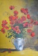 tableau fleurs : Coquelicots au vase blanc