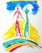 dessin personnages huile encre surrealiste : SUR LE CHEMIN DU BONHEUR