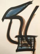 dessin abstrait encre femme oiseaux chine : la femme à la valise #002