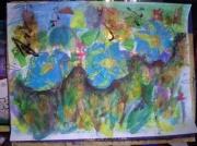 tableau fleurs l art ,c est ma vie : jardin bleu